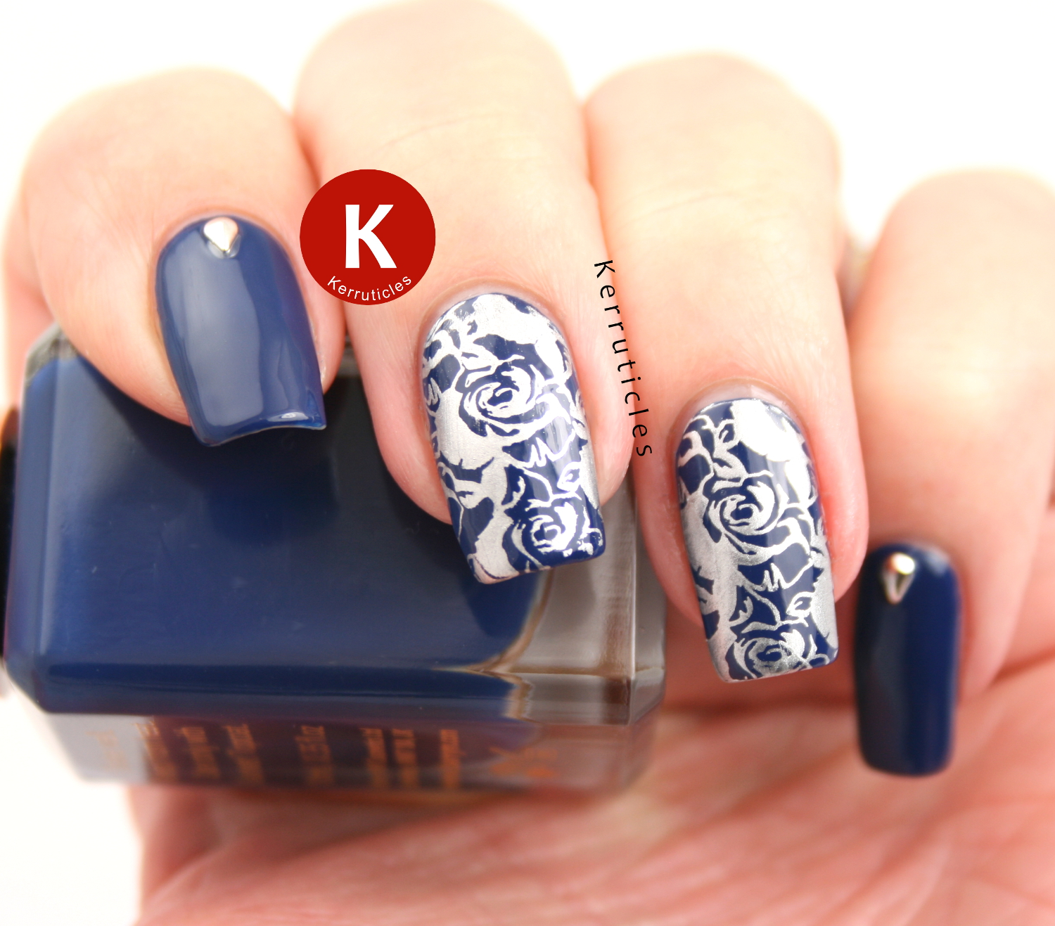 Navy and silver stamped roses using Barry M Drive Me Navy, Bundle Monster BMXL-07 and Bundle Monster silver tear-drop studs