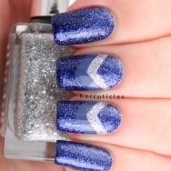 OPI DS Lapis with blue and silver chevrons using Rimmel Navy Seal and 2true Christy