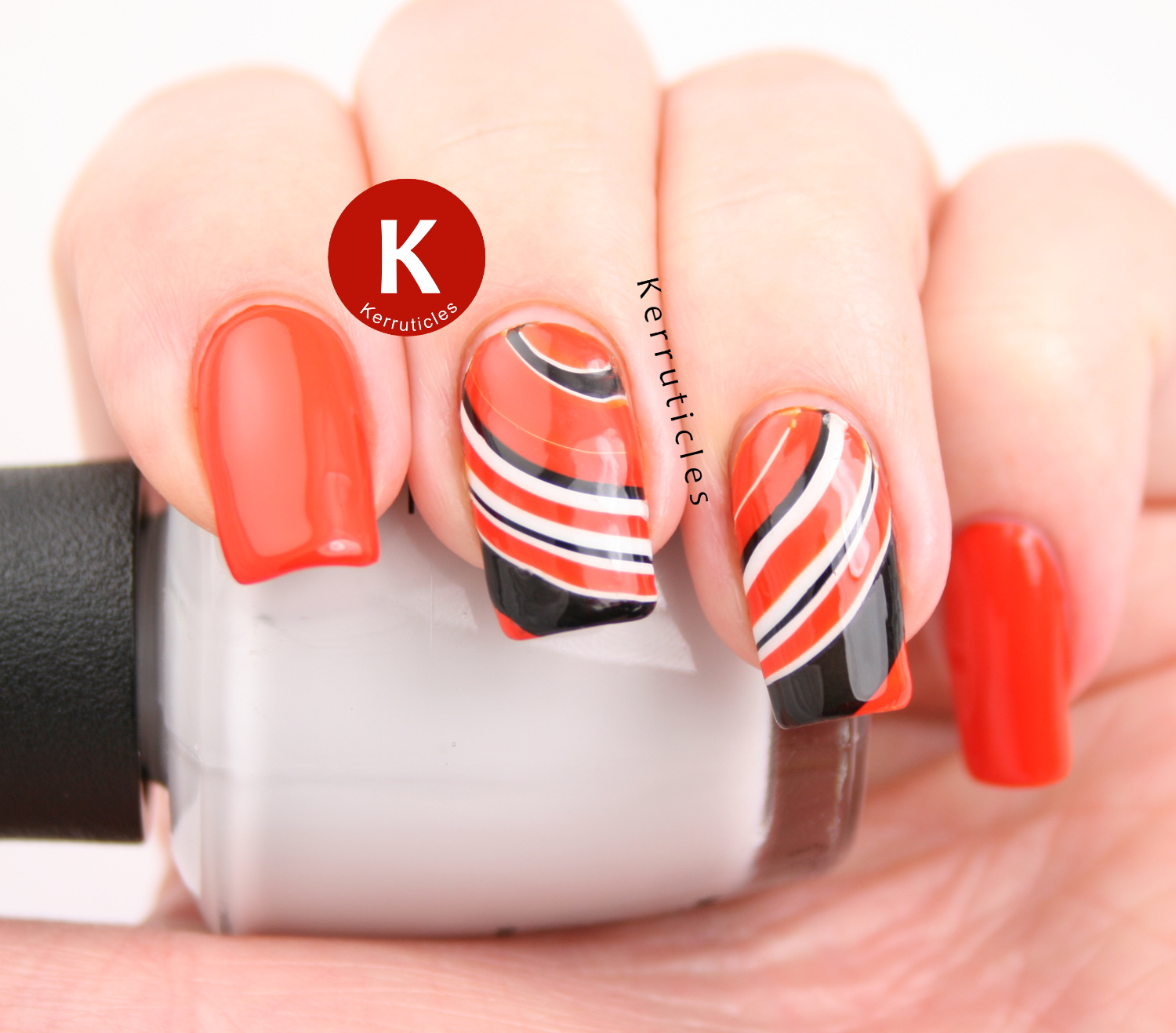 Orange, black and white watermarble stripes using OPI A Roll In The Hague, OPI My Boyfriend Scales Walls and Calvin Klein Ebony Hates Chris - Black