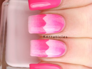 Pink scaled gradient zigzags using Barry M Pink Punch, Dragon Fruit and Rose Hip