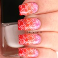 Stamped pink, orange and red gradient - using Nella Milano Blushing Bloom, Chilli Blaze and The Rubinator and Born Pretty Store BP-L009
