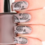 Nails Inc Maylebone Mews with paisley stamping using Konad Black and Bundle Monster BM-315