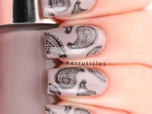 Nails Inc Maylebone Mews with paisley stamping using Konad Black and Bundle Monster BM-315