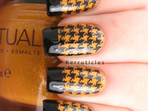 Gold and black houndstooth French tips using SpaRitual Tend and Born Pretty Store BP-L013