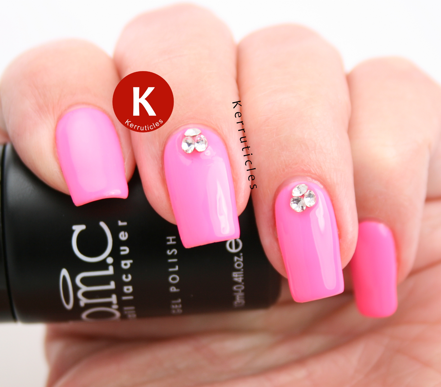Neon Pink with 3D Crystal Gems | Kerruticles