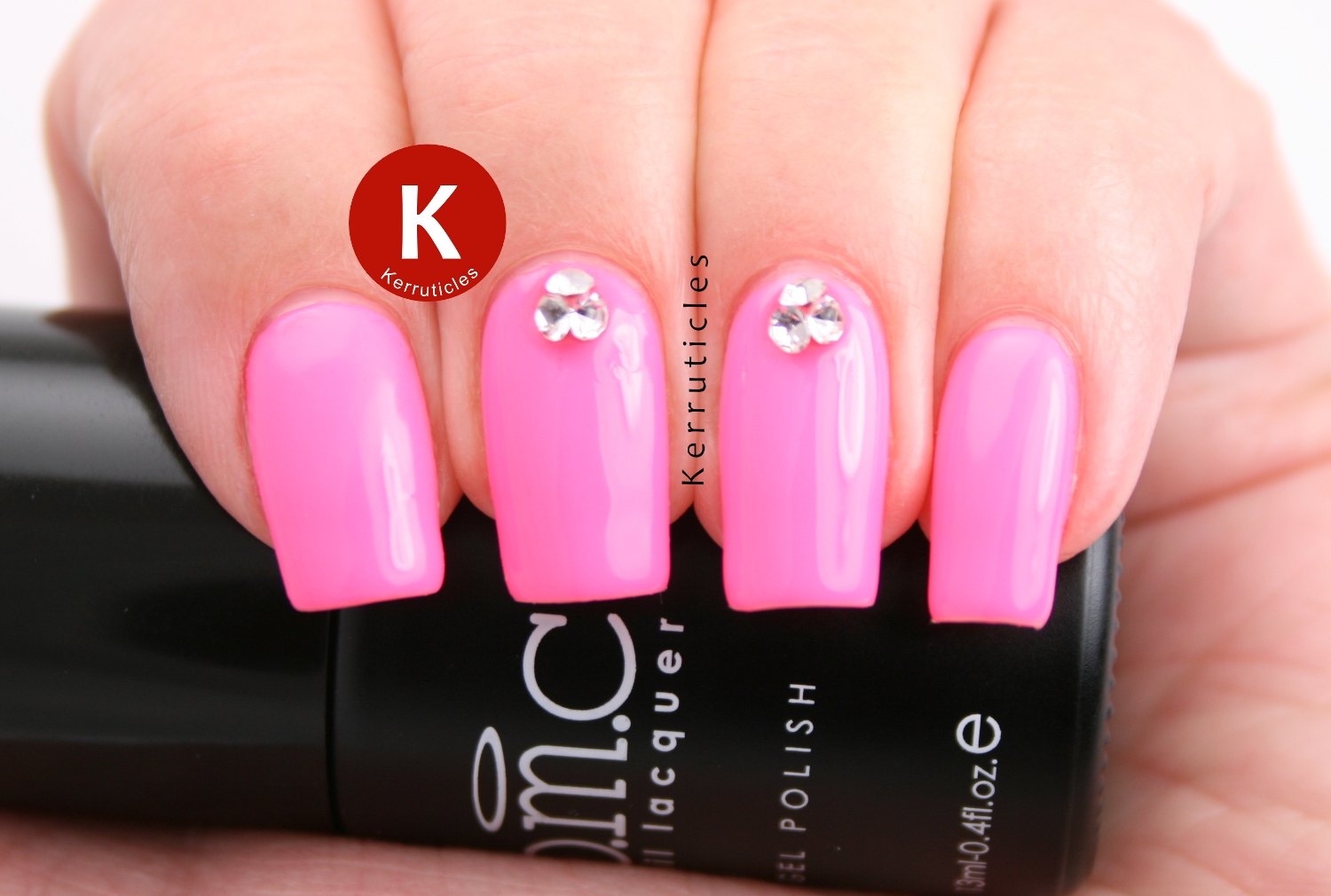 Neon pink with 3D crystal rhinestones, using Bundle Monster Sunset Walk