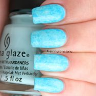 Neon blue Saran wrap manicure using China Glaze At Vase Value and DJ Blue My Mind