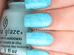 Neon blue Saran wrap manicure using China Glaze At Vase Value and DJ Blue My Mind