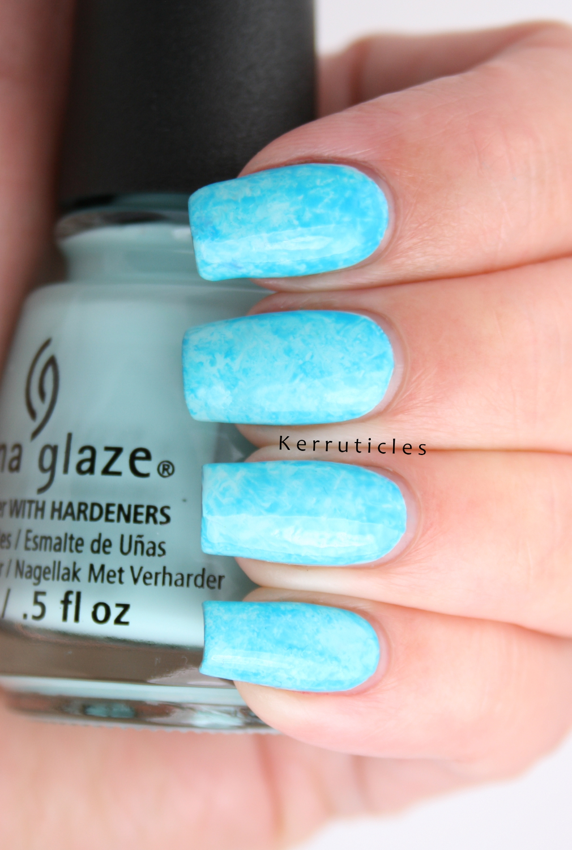 Neon Blue Saran Wrap Manicure Using China Glaze At Vase Value And Dj My Mind