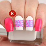 Essie Bottle Service neon pink blue chevron decals