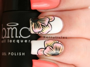 Floral nails using Bundle Monster Mosaic Glass Sheer Tints Gels and Barry M Papaya