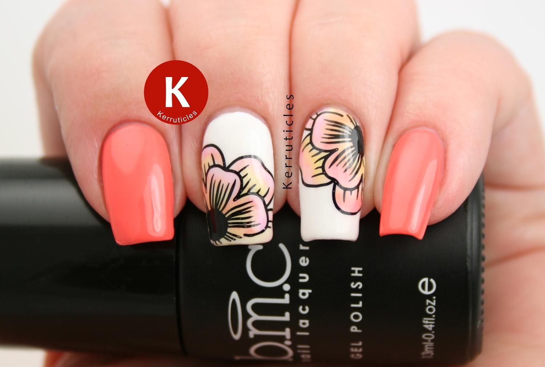 Floral nails using Bundle Monster Mosaic Glass Sheer Tints Gels and Barry M Papaya