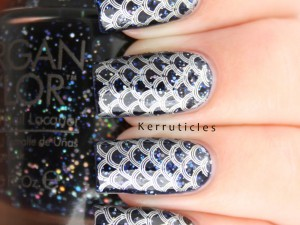Navy blue mermaid scales manicure using Morgan Taylor Under The Stars, Barry M Foil Effects Silver and Bundle Monster BM-502