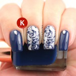 Navy and silver stamped roses BMXL-07