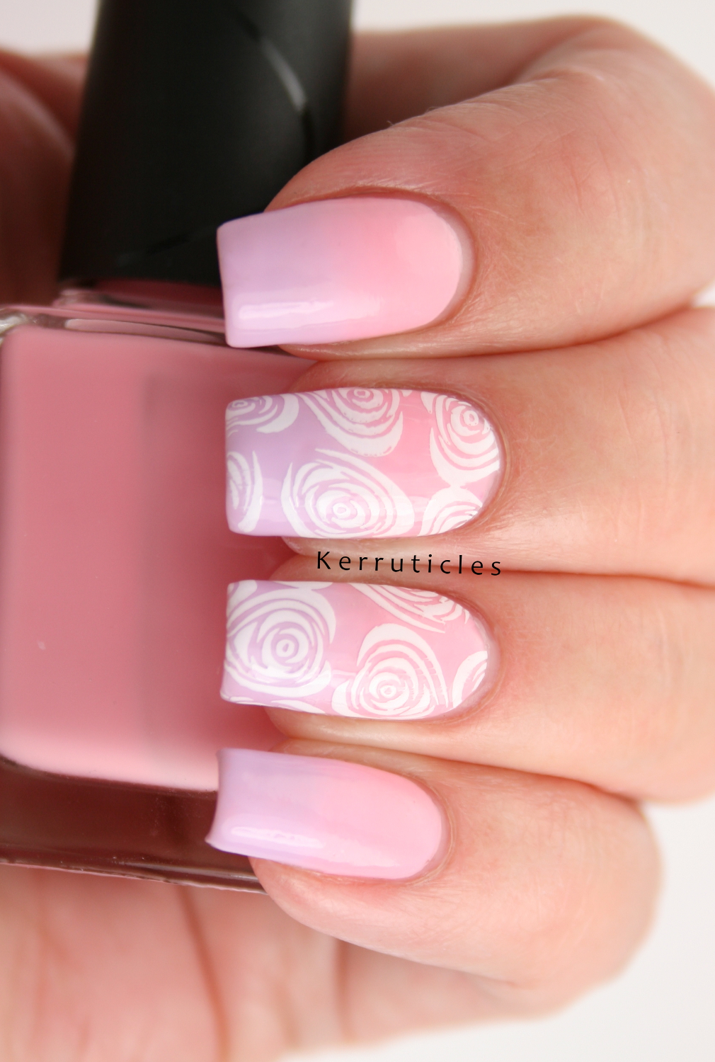 Pink and Lilac Gradient with Stamped White Roses (52 Week Challenge ...