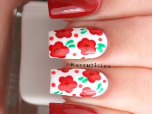 Red, orange and green flowers using Barry M Cotton, Blood Orange, Spring Green and Satsuma