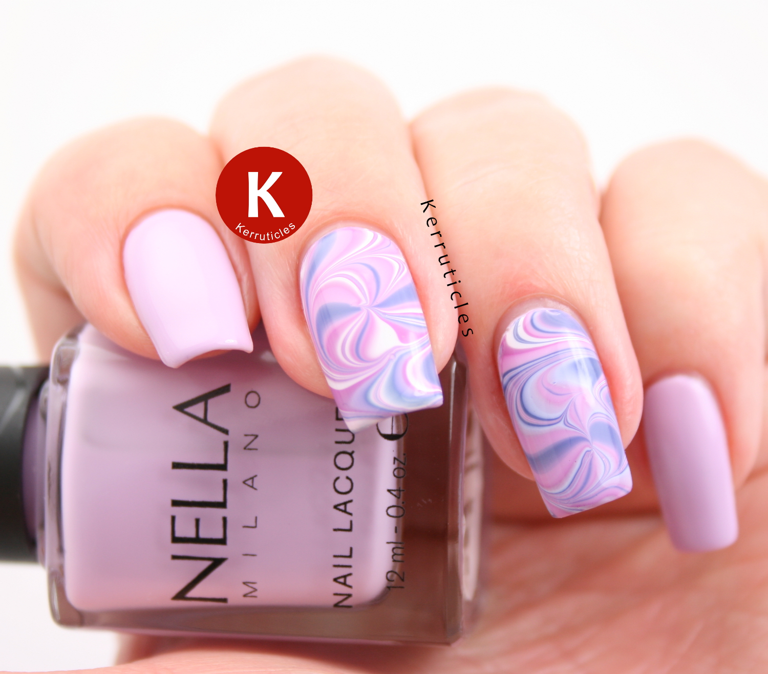 Swirl water marble using Nella Milano Lady Lavender and also Nella Milano Chantilly Cream, Vintage Violet and Madame Pompadour