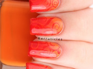 Orange and red gradient swirls using Barry M Mango, Block Orange and Blood Orange, stamped with CICI & SISI 05