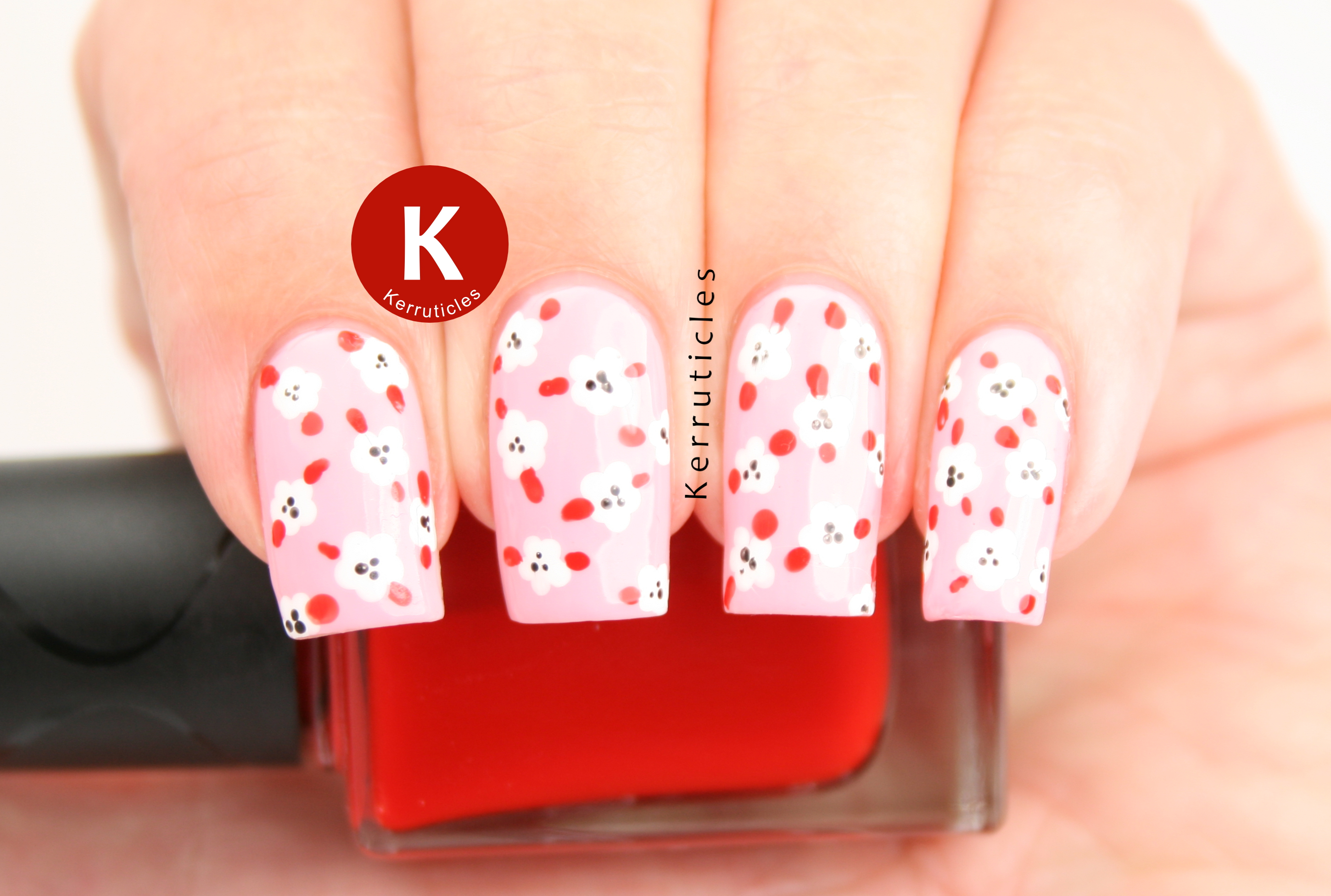 Pink, red and white mini dotted flowers using Nella Milano Pinkifield, Chantilly Cream, Raven Wing and The Rubinator