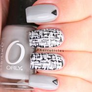 Grey black and white tweed nails using Orly Mirror, Mirror and black and white Barry M nail art pens