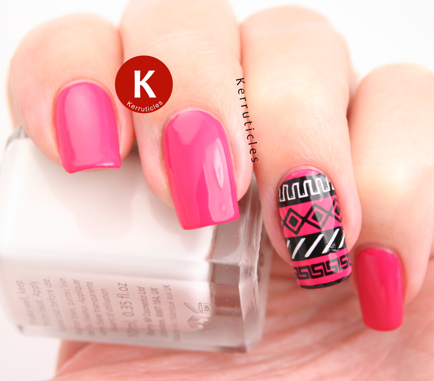 Hot pink tribal nails using L'Oréal Shocking Pink, Barry M Cotton, Konad Black and Bundle Monster BM-XL152