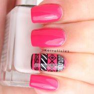Hot pink tribal nails using L'Oréal Shocking Pink, Barry M Cotton, Konad Black and Bundle Monster BM-XL152