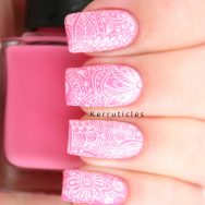 Pink with white floral stamping, using Nella Milano Sweetie Darling and Bundle Monster BM-S107