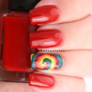 Tie dye and red nails, using Nella Milano polishes