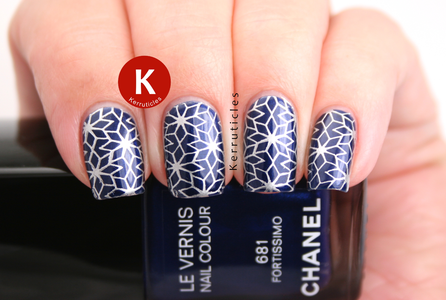 Chanel Fortissimo with silver geometric stamping, using Barry M Foil Effects Silver and Born Pretty Store BP-25