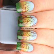 Gradient sunset tree nails
