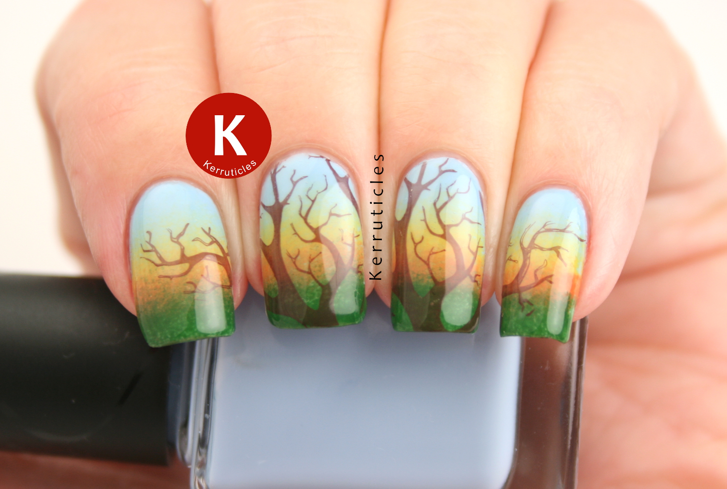Gradient sunset tree nails