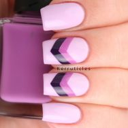 Lilac, violet and purple chevrons using Barry M Fondant, Nella Milano Vintage Violet and Barry M Plum