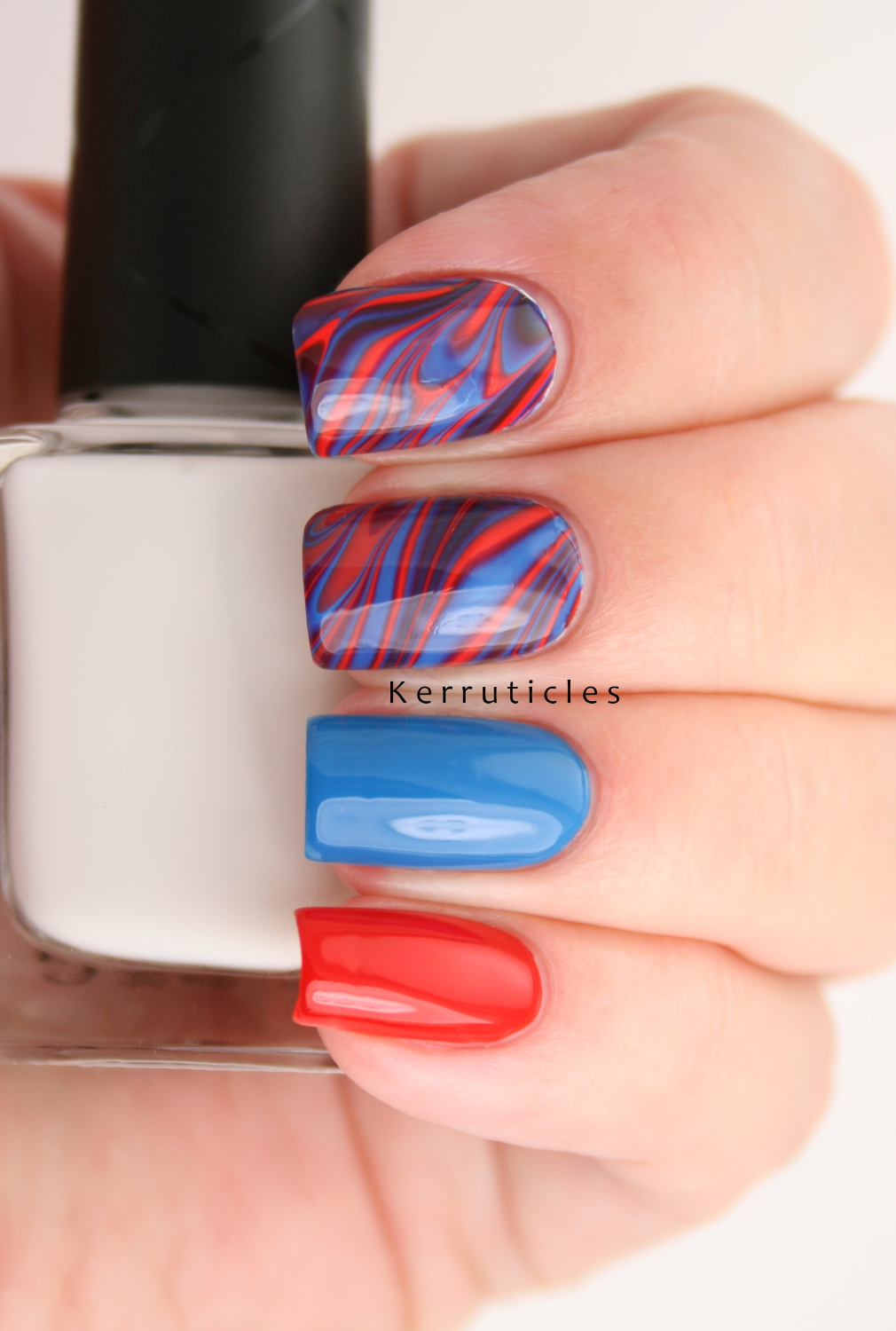 Red Blue And Purple Water Marble Nails Kerruticles
