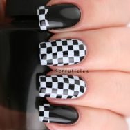 Black and white checked nails, stamped with Bundle Monster BM-XL154