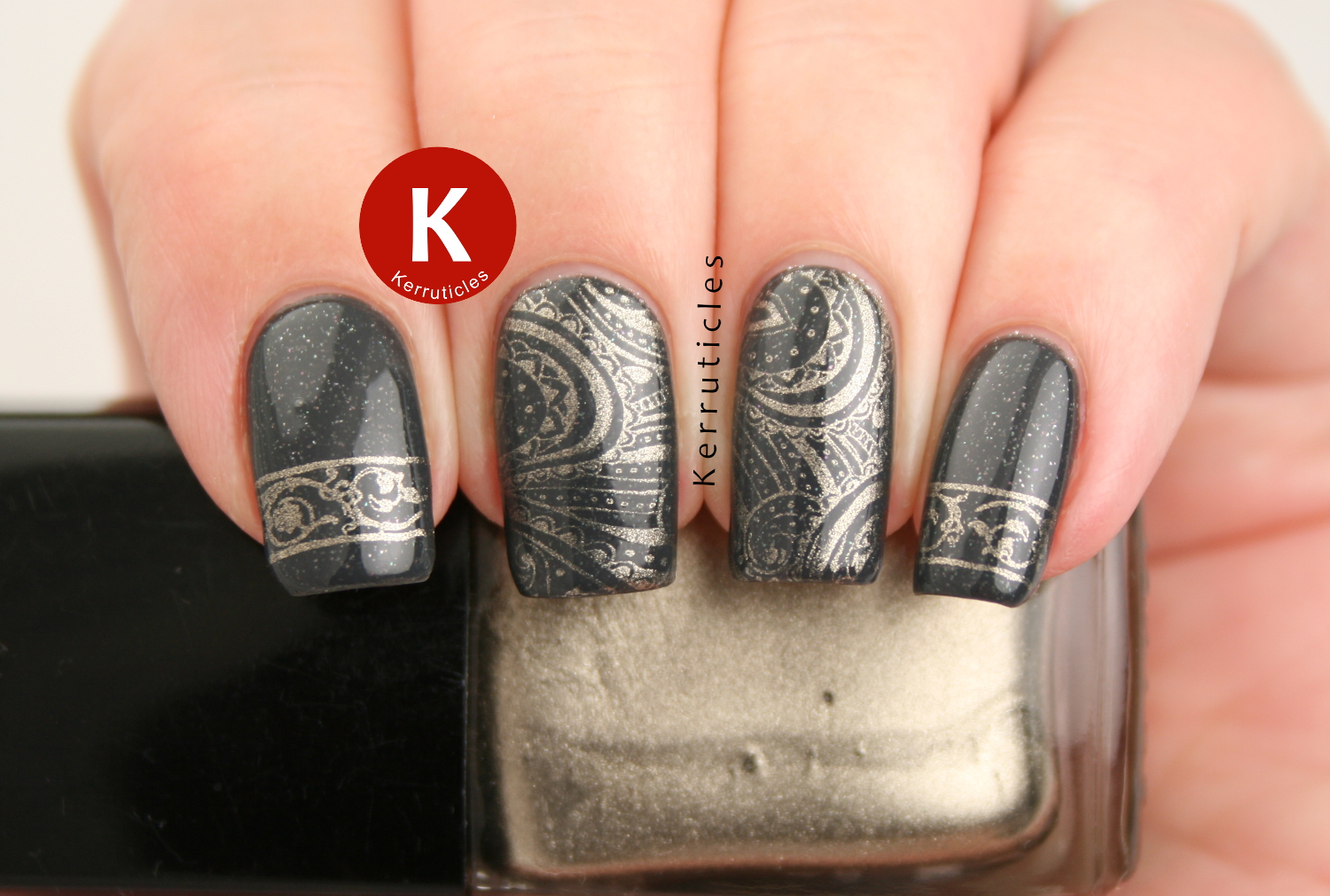 Grey and gold stamping, using Essie Cashmere Bathrobe, stamped with Chanel Kaleidoscope, using Born Pretty Store BP-35