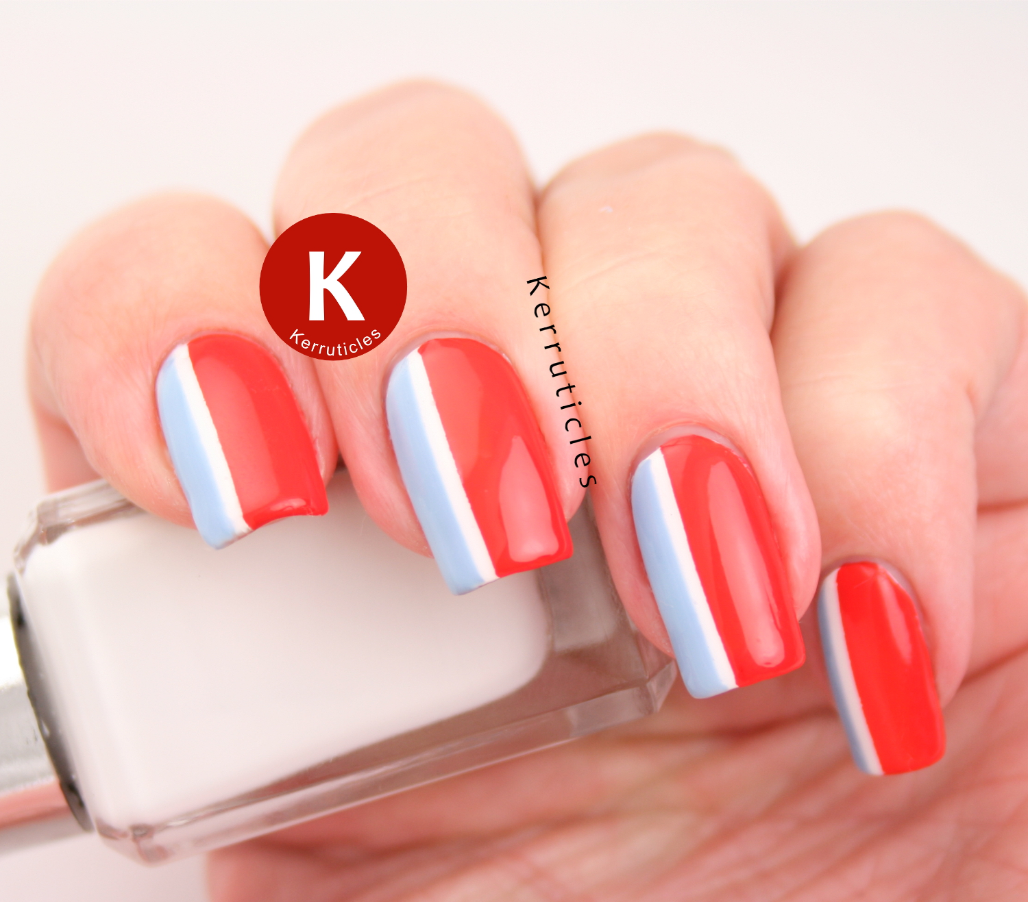 Red, White and Blue Striped Nails | Twinsie Tuesday | Kerruticles