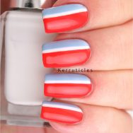 Red, white and blue striped nails using Essie Fifth Avenue, Essie Bikini So Teeny and Barry M Cotton