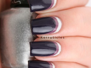 Silver and purple double ruffian nails