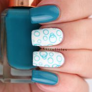 Teal circles using Barry M Cotton and Make Me Teal and CICI & SISI 01