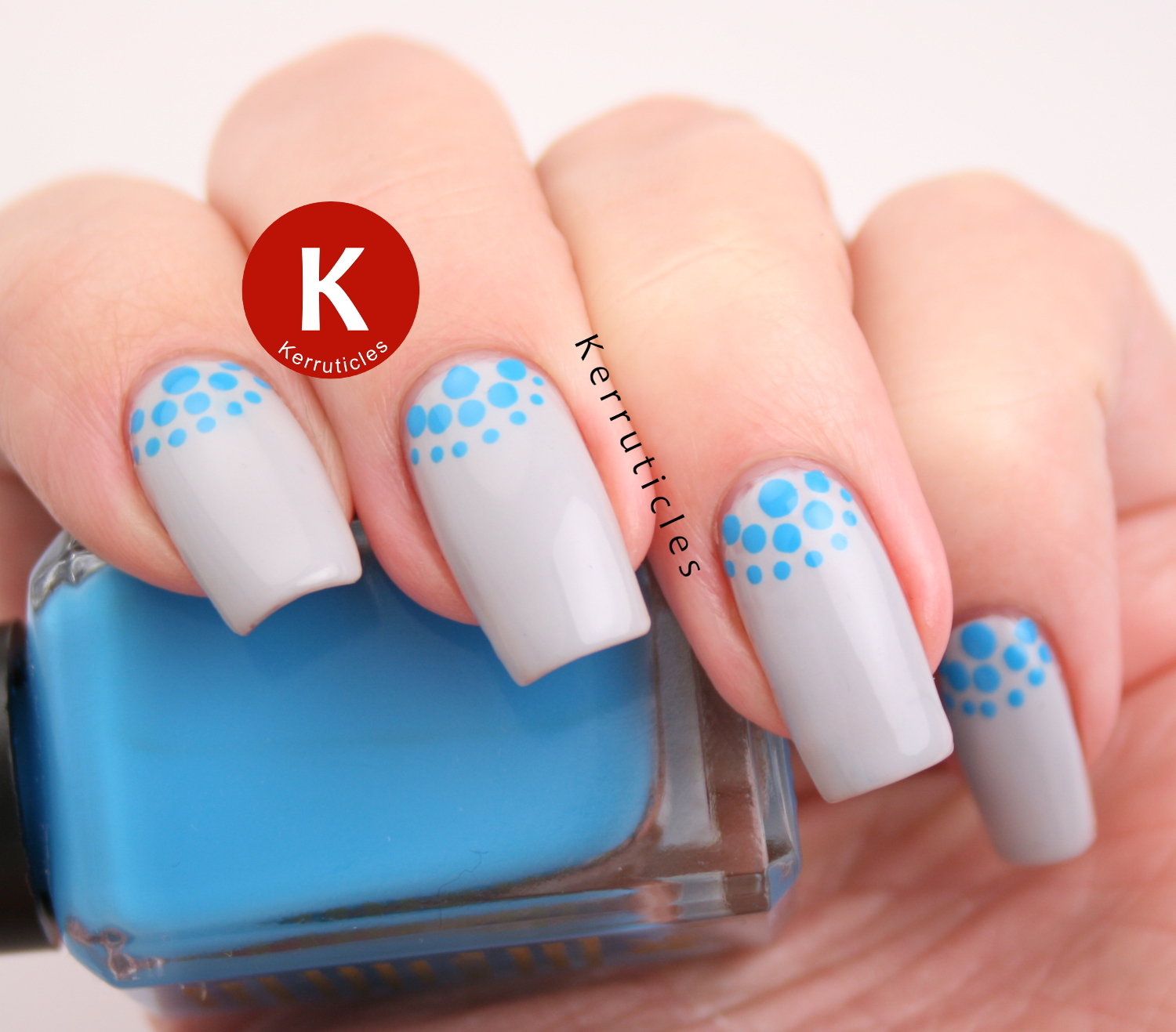 Grey and blue dotted half moons