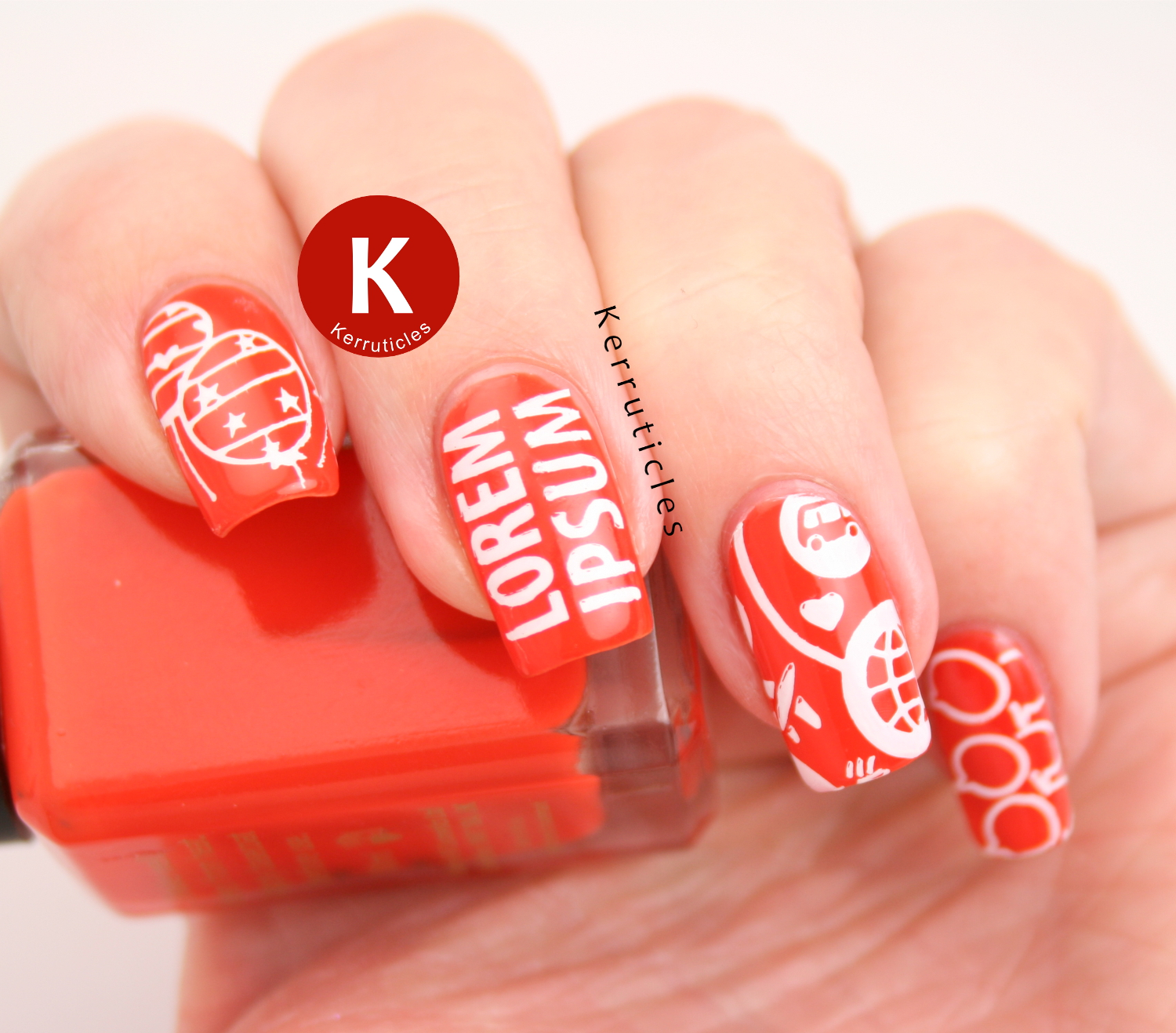 Orange and white stamping