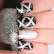 Black silver laser new year nails