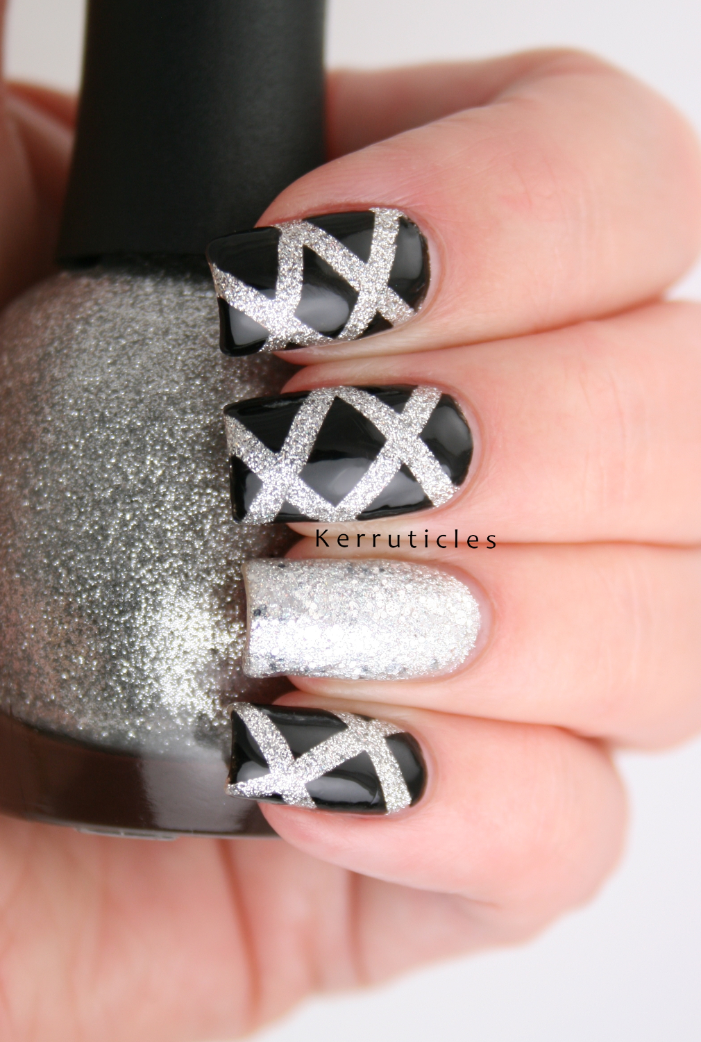 Black and Silver Laser Nails | New Year | Kerruticles