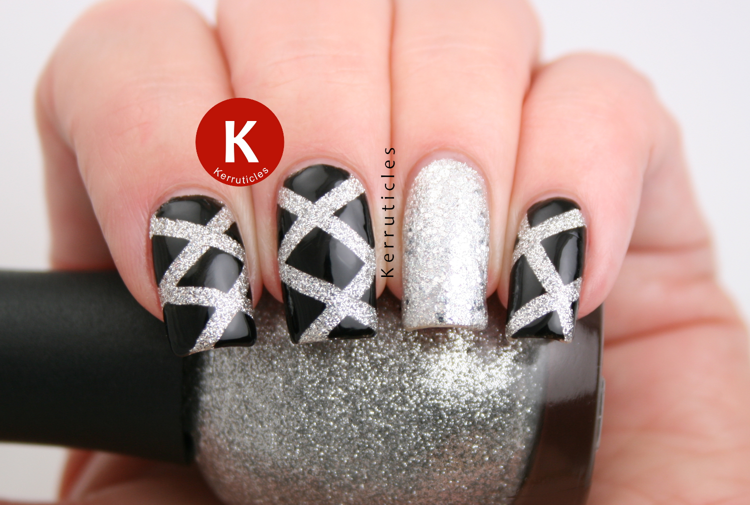Black and silver laser nails new year kerruticles black silver laser new year nails prinsesfo Gallery