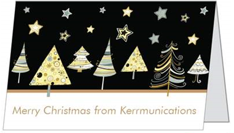 Christmas card with gold Christmas trees and stars