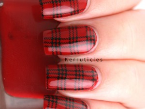 Red tartan nails
