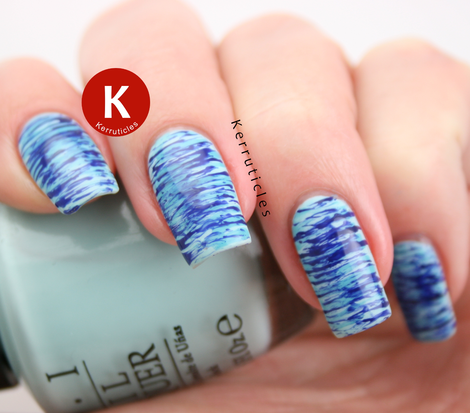 Blue fan brush nails