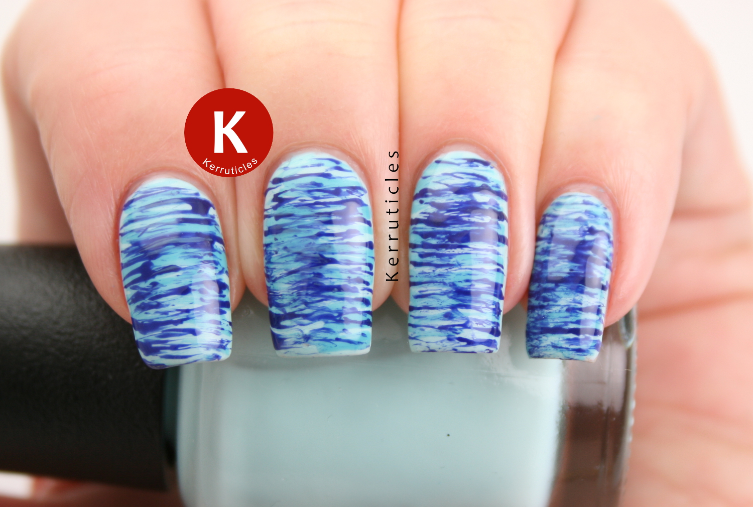 Blue fan brush nails 40 great nail art ideas kerruticles blue fan brush nails prinsesfo Image collections