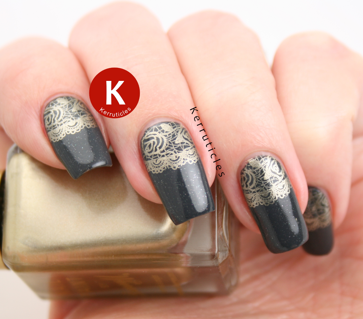 Grey with gold lace half moon stamping