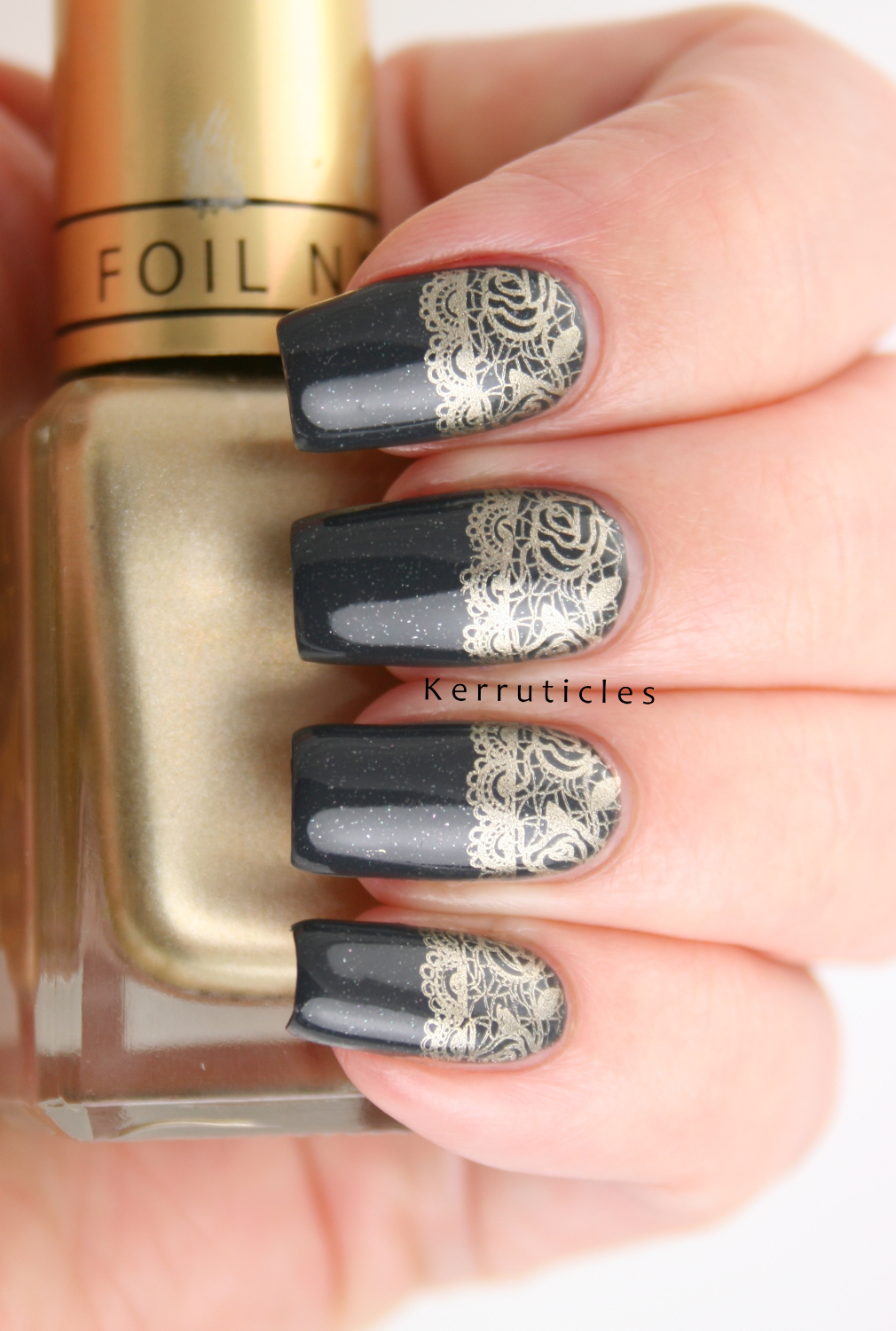 Dark Grey with Gold Lace Half Moon Stamping | Kerruticles